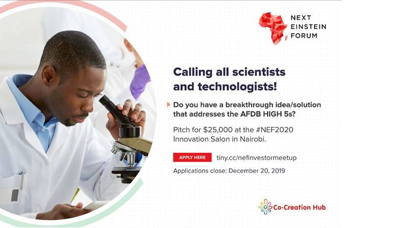Apply for a chance to win $25,000 at the Next Einstein Forum 2020- https://businesstrumpet.com/apply-for-a-chance-to-win-25000-at-the-next-einstein-forum-2020/--…  Co-Creation  Hub in partnership withNext Einstein Forum (NEF) has launched a call  for the Sciencepreneur Investor Meetup - to find, identify and support  Science-driven innovators, ... pic.twitter.com/0HA6NtWJKD