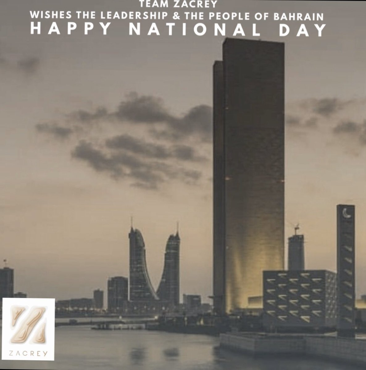 Team ZACREY extends its sincere greetings to the people of the Kingdom of Bahrain on the occasion of The National Day and His Majesty's Accession Day.  #bahrain #bah #bh #happynationalday #zpw #zhw #zacrey #design #business #businessdesign #16dec #gcc #MENApic.twitter.com/E8MMnsL7DM