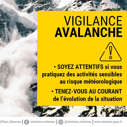 #Vigilancejaune vent violent - en haute montagne : 120 à 130 km/h - en moyenne montagne : 80 à 110 km/h - dans les vallées : 60 à 90 km/h - en plaine : 70 à 80 km/h Risque de chute d'arbres du fait des sols gorgés d'eau #vigilancejaune avalanche http://vigilance.meteofrance.com/pic.twitter.com/wlTqMdNoxW