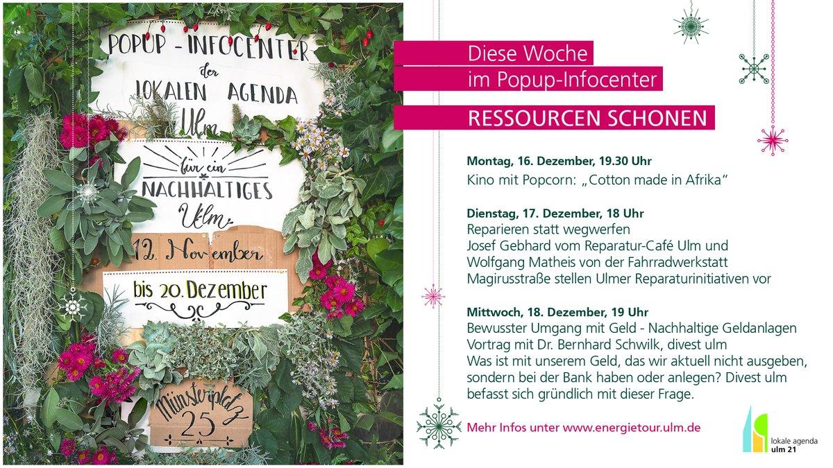 Das #popupinfocenter der Lokalen Agenda Ulm 21 startet mit dem Thema #ressourcenschonen in die letzte Woche. Zwei interessante Vorträge und ein Film werden präsentiert. #m25 #Münsterplatz25 #ulmstories #lokaleagendaulm21pic.twitter.com/eQouj5T7Nv