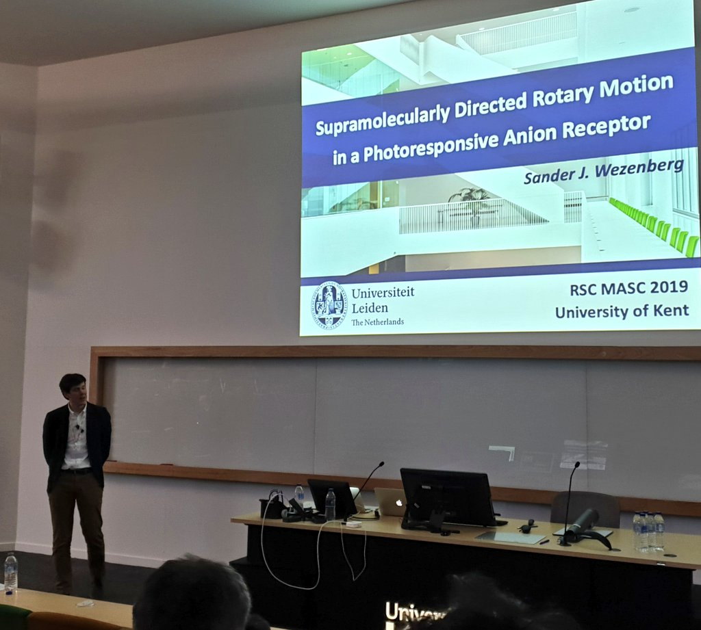 First time visitor to @UniKentSPS is Sander Wezenberg @LeidenSbc presenting at #MASC2019 on photoswitchable molecular rotors for anion binding. An evolution of joint work with #chemnobel @FeringaLab, taken into fresh new directions :)