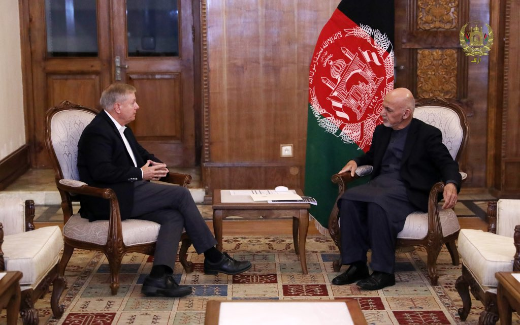 President Ghani met with Senator Graham @LindseyGrahamSC this evening, they discussed latest ANDSF successes against ISIS, a gradual and responsible reduction of the U.S Forces, continued partnership in combatting terrorism and peace. <br>http://pic.twitter.com/3wpBv7f2Hr