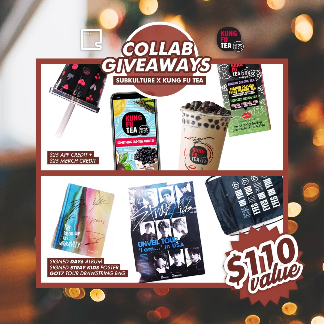 🎁 Enter to win our SUBK x KUNG FU TEA prize package (incl. $25 app + merch credit, signed DAY6 album, signed Stray Kids poster, GOT7 drawstring): 1. Follow @kfteausa & @subkultureent. 2. Like, RT, & quote tweet w/ hashtags #SUBKxKFT & #SUBKHOLIDAYGIVEAWAY19. 3. Tag 2 friends! https://t.co/jwCnho3zw7