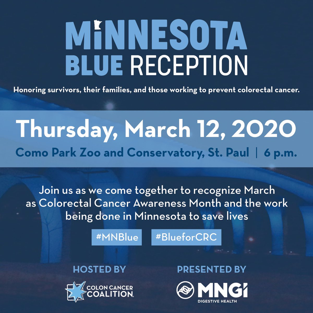 Colon Cancer Coalition On Twitter Twin Cities Save The Date For Our Annual Mn Blue Reception March 12 2020 Mnblue Blueforcrc Mngihealth Https T Co Ddbexmeorh Https T Co Zgd0rpla2j
