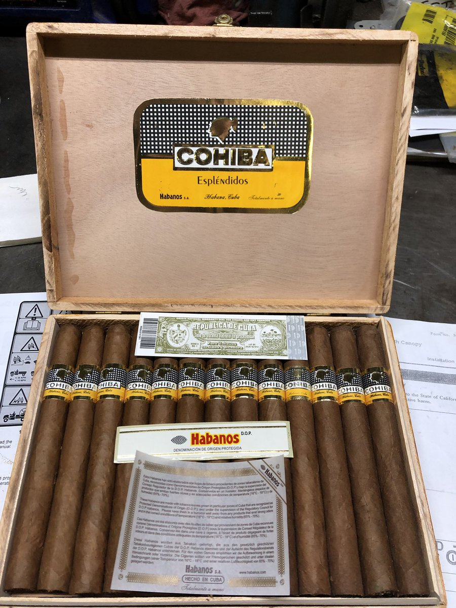 Just off the boat...my first box of Cohiba cigars! The problem is, I quit smoking 7 yrs. ago!
