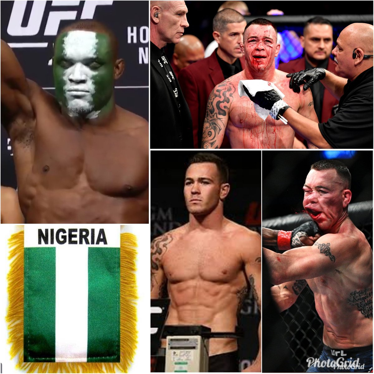 #ColbyCovington before & after #KarmuUsman got his paws 🐾 on his #PunkAss! The #NigerianNightmare will haunt @ColbyCovMMA forever. @USMAN84kg youre a humble man & fighter but you earned your right to #TalkYoShit! Fuck #ColbyandTheTrumpTrain @realDonaldTrump #UFC245 #Trump🇳🇬