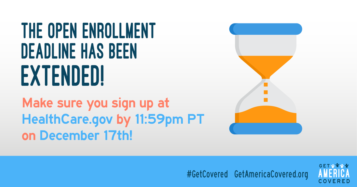 Did you miss your chance to #GetCovered with affordable health coverage at http://HealthCare.gov ? Well you're in luck: The deadline has been extended to 11:59pm PT on December 17th!Sign up at http://HealthCare.gov  now!