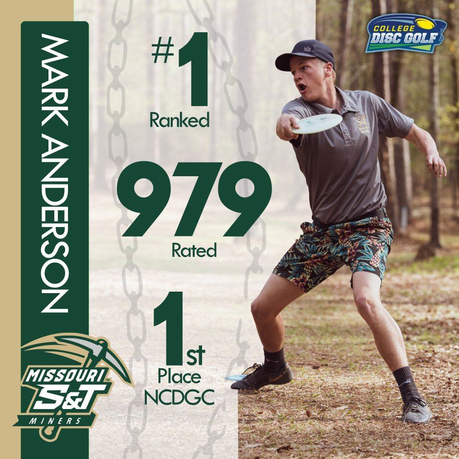 Current National Champion and #1 ranked player Mark Anderson from Missouri S&T is our first ever #MANCRUSHERMONDAY!!  #collegediscgolf #cdgnc #ncdgc #discgolf #innovadiscs #pdga #discmania #dynamicdiscs #discraft #discgolfchampionship #collegesports #collegechampionship pic.twitter.com/tHjpdr7h8o