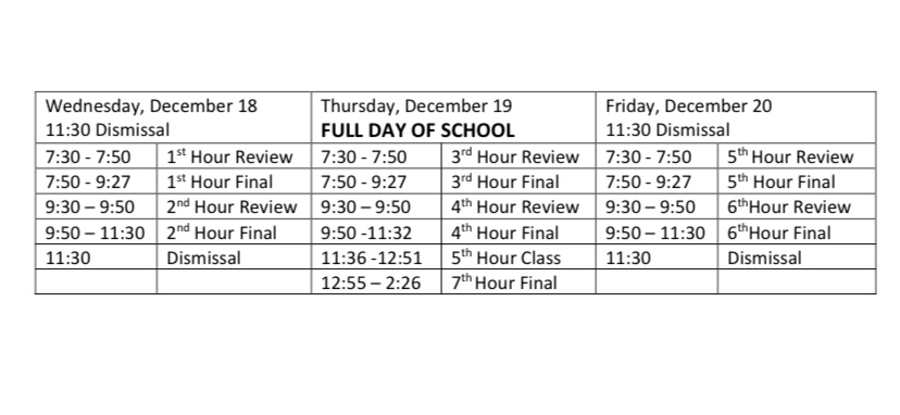 Please see below for the Bayless High School modified exam schedule.