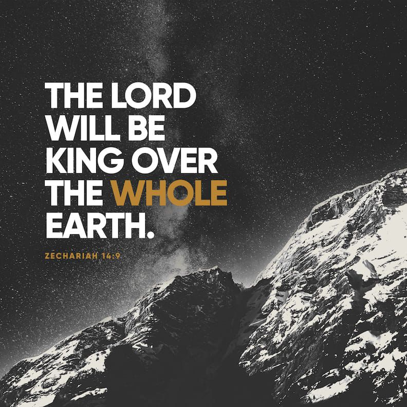 """""""And the LORD shall be King over all the earth. In that day it shall be— """"The LORD is one,"""" And His name one."""" Zechariah 14:9<br>http://pic.twitter.com/a8RXa7KJ4L"""