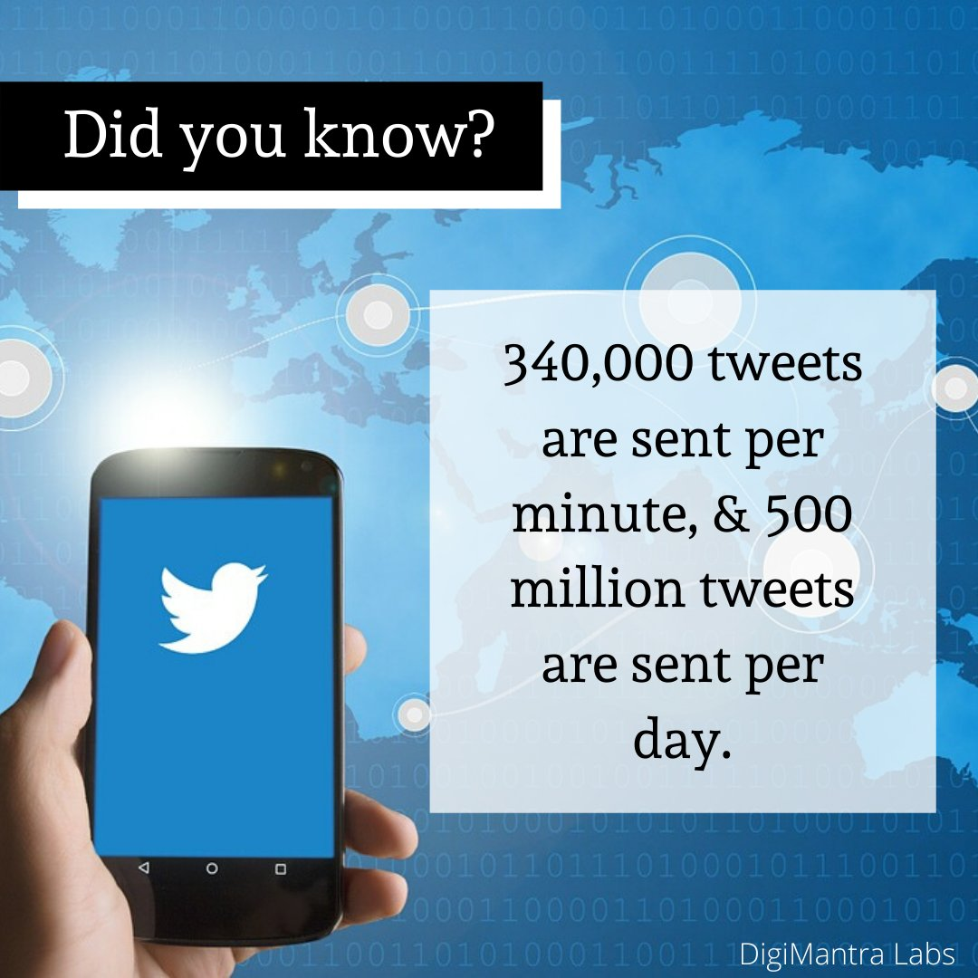 340,000 tweets are sent per minute, & 500 million tweets are sent per day.  #twitter #tweets #growth #business #digimantralabs #digitian #technology #socialmedia<br>http://pic.twitter.com/syY3iDS6KH