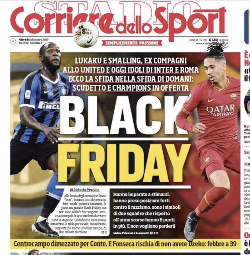 Italian sports daily under fire for 'Black Friday' headline