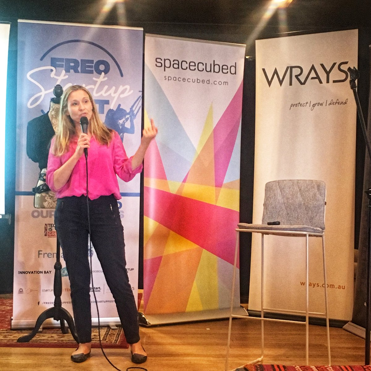 @MaryWebberley pitching Noisy Guts at the @freostartupfest #pitch comp as part of @WestTechFest this week, 8 incredible #Perth #startups showing the talent we have here in #WA!!!   #WTF2019 #westtechfestpic.twitter.com/lrB3ZFzIte