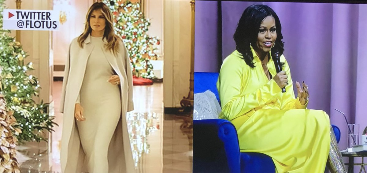 "@RobinGivhan Coming from someone who thought Obama's curtain was ""Faaashion"". 🤣 I'll let those w/o TDS decide which actually looks high #Fashion. The white coat or the yellow curtain?! #ThursdayMorning #ImpeachmentHearing isn't going well so they attack the @FLOTUS & #BarronTrump @potus"