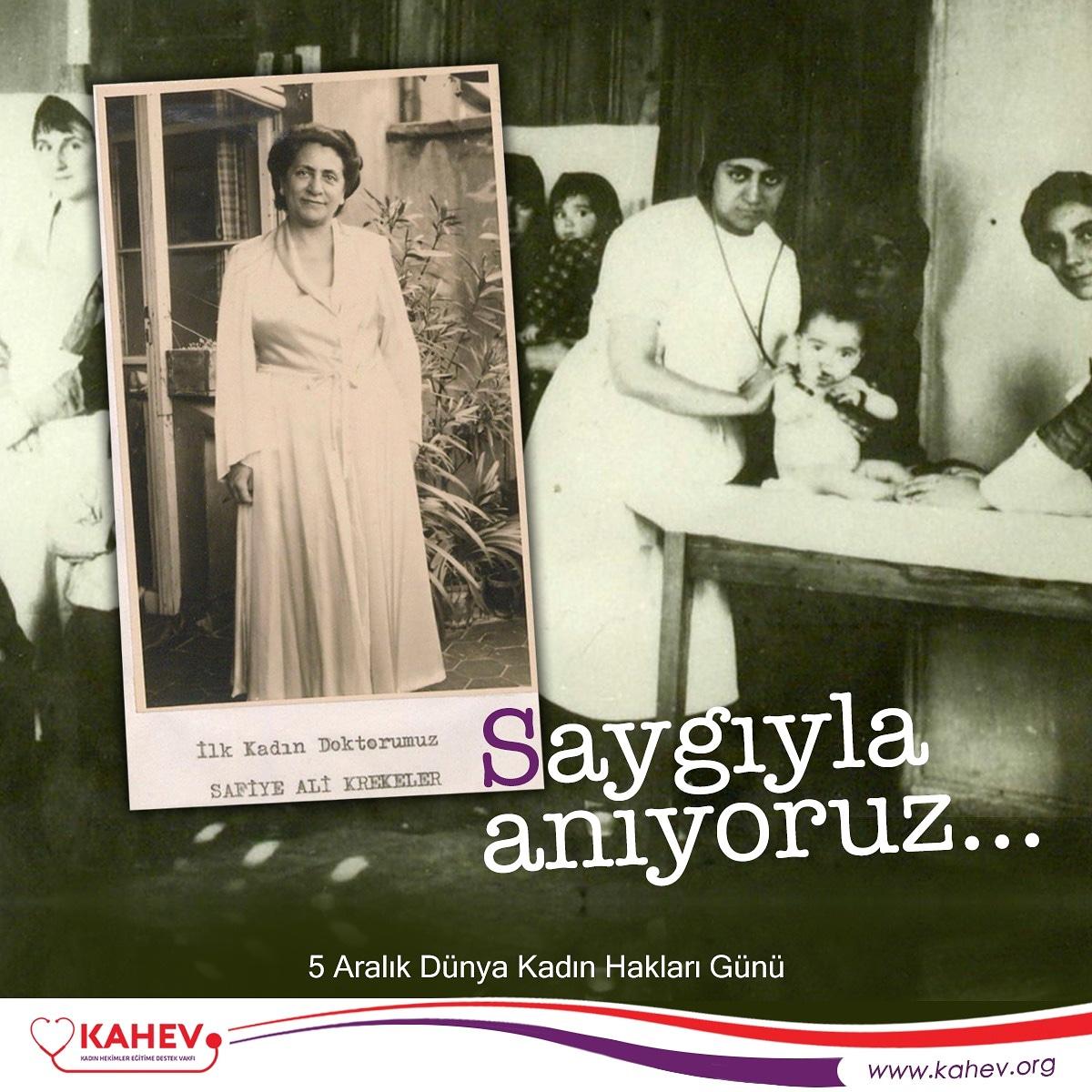 """Atatürk Devrimlerinin en önemlilerinden biri olan """"Türk kadınlarına milletvekili seçme ve seçilme hakkı tanınması""""nın yıl dönümü olan bugünde Cumhuriyetimizin ilk kadın hekimi Safiye Ali'yi saygıyla anıyoruz.  #dünyakadınhaklarıgünü #safiyeali #kahevpic.twitter.com/Z4vT0magmh"""