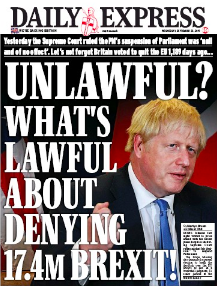 How The Daily Express and The Daily Mail report Boris Johnson being found by the Supreme Court to have misled the Queen to unlawfully suspend Parliament. Versus How they report Jeremy Corbyn thinking the the Queens speech is a bit earlier on Christmas day than it is.