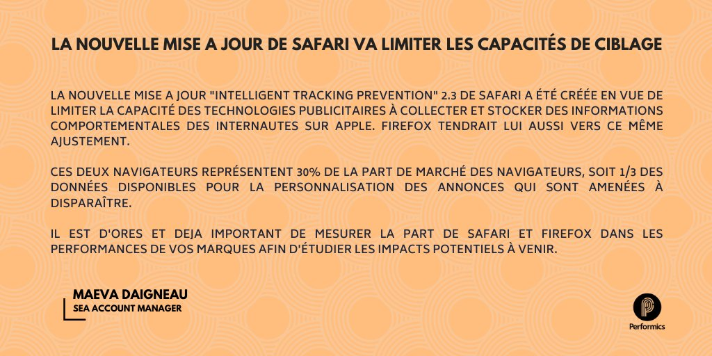 test Twitter Media - La récente mise à jour du navigateur #Safari d'@Apple aura un réel impact sur les capacités de ciblage publicitaire, et les marques doivent en mesure les impacts sans plus attendre. Plus d'informations ici 👉🏼 https://t.co/mWxgvyD5Kd #SEA https://t.co/PbxDzauWn4