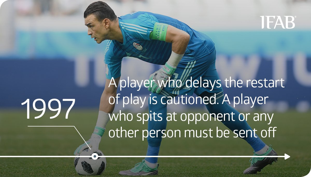 """⚽ HOW FOOTBALL HAS CHANGED? A yellow card 📙 for delaying the restart of play and a red card 📕 for spitting – these sanctions were introduced by The IFAB in 1997. What does it mean to delay the restart of play""""? Which offences must be penalised? ➡ bit.ly/YellowRedCard_"""
