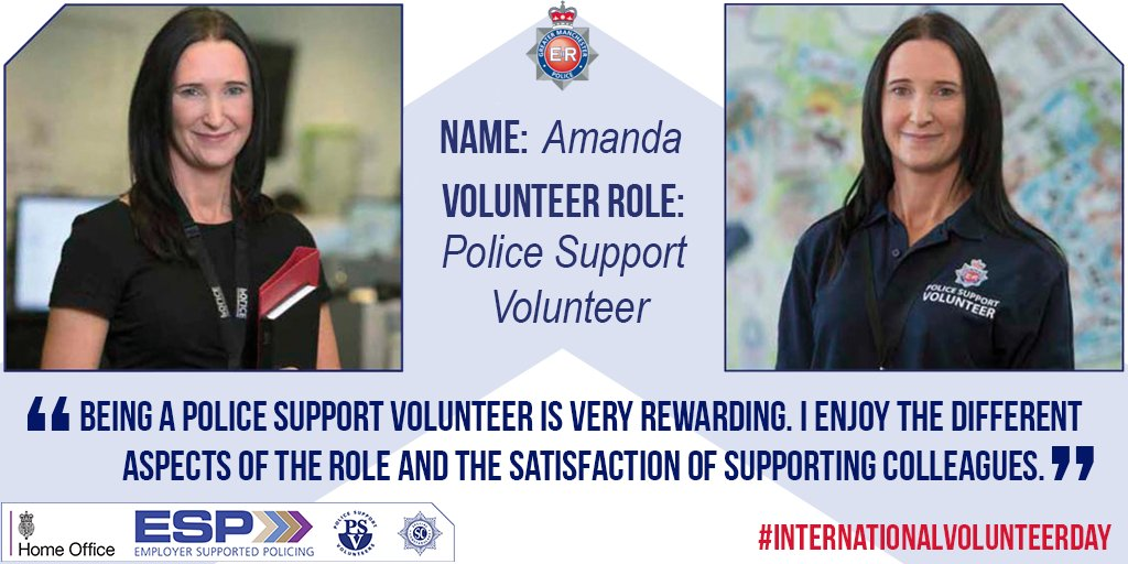 Amanda is the Apprenticeship Coordinator with GMP and is also a Police Support Volunteer within the Neighbourhood, Confidence & Equality team. GMP supports Amanda with an additional three days of paid leave to carry out her volunteer duties. #InternationalVolunteerDay