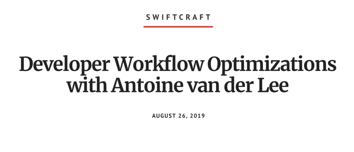 Listen to how @emanharout interviews me on workflow optimizations during the SwiftCraft podcast:   http:// bit.ly/2Ub4OUV?utm_ca mpaign=coschedule&utm_source=twitter&utm_medium=twannl  …    What to do if Xcode build times are slow  An obesicat  The magic 5 minutes  #swiftlang #ios<br>http://pic.twitter.com/Cts4odhyG7