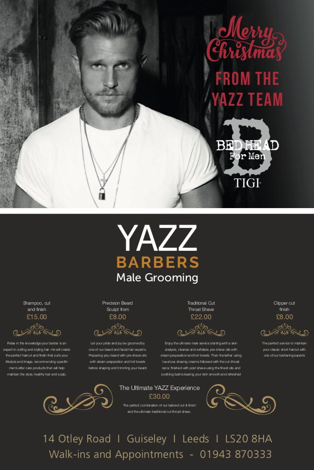 It's officially party season and we are getting booked up! Some appointments still available at Yazz Barbers this week. Hurry as Christmas is coming!  To book call: Guiseley 01943 870333  #gentscut #cutthroatshave #beardtrims  #Yazzbarbers #Guiseley #Leedspic.twitter.com/YvO9FK29n7