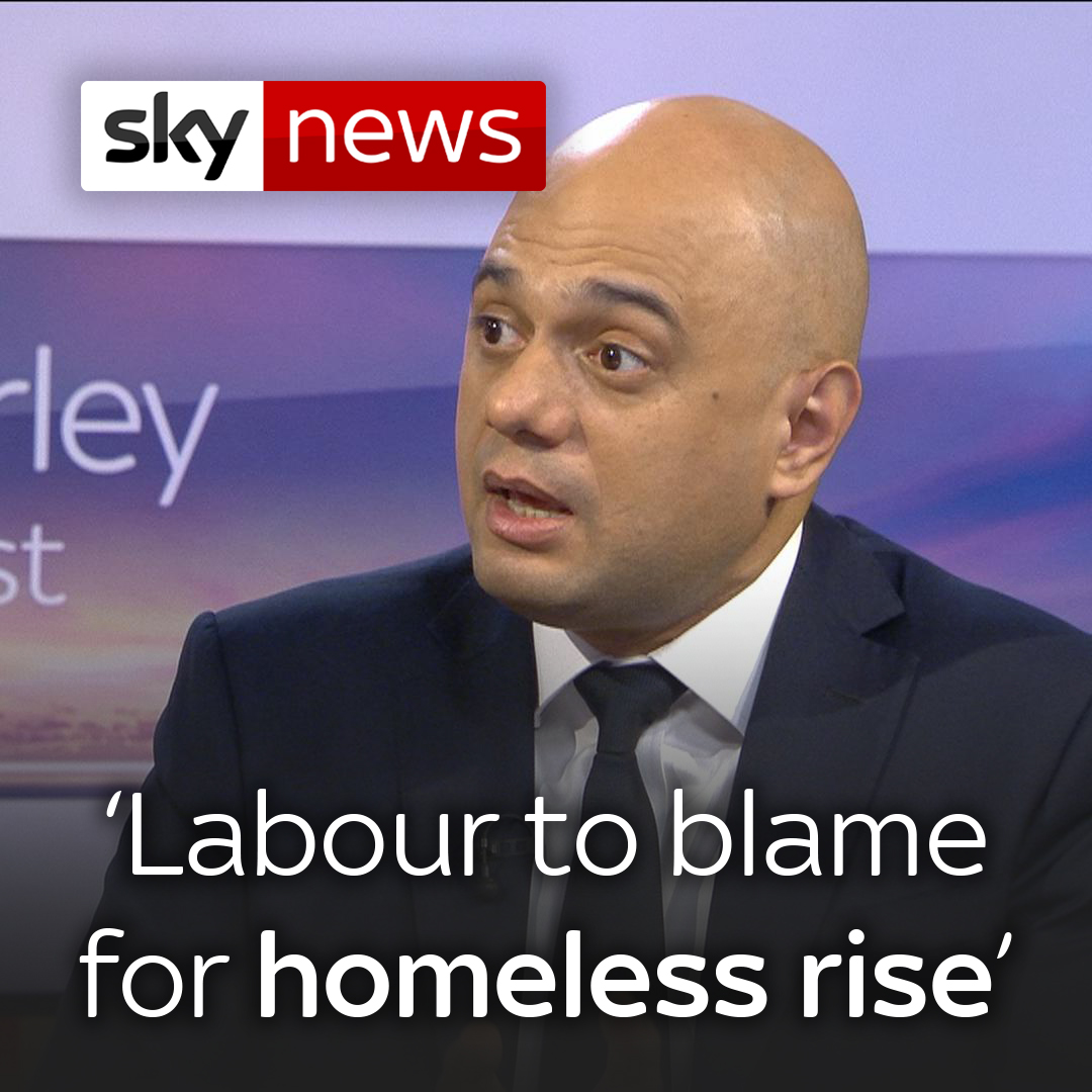 """""""It's Labour that was responsible for the massive rise of homelessness.""""  Chancellor @sajidjavid claims that the previous Labour government is to blame for the UK's rise in homelessness.    Labour's pledged to end rough sleeping in the #GE2019 campaign: http://po.st/9tXoek"""