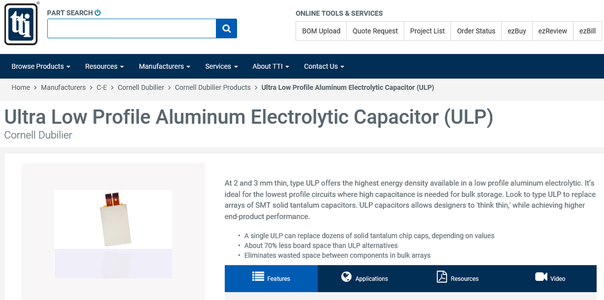 Another #gamechanger -The new ULP Series of Ultra-Low-Profile aluminum electrolytic capacitors from #CornellDubilier  The ULP is offered in package heights of 2.2 and 3.2mm up to 24,000µF. More @TTI here:  https://www. ttiinc.com/content/ttiinc /en/manufacturers/c-e/cornell-dubilier/products/ultra-low-profile-aluminum-electrolytic-capacitor--ulp-.html  … <br>http://pic.twitter.com/XV8H6JhIhb
