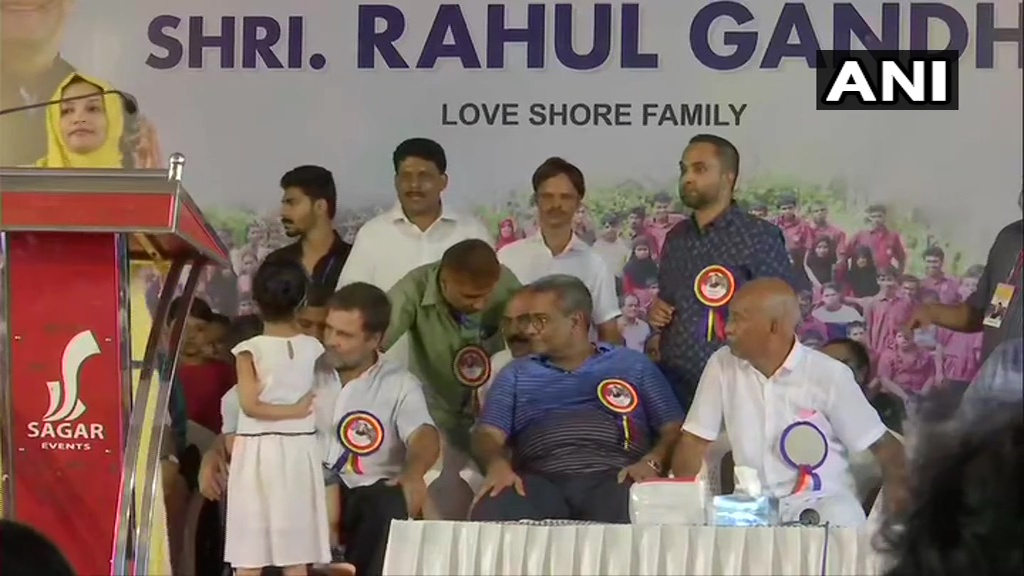 Kerala: Congress MP from Wayanad, Rahul Gandhi interacts with children at an event in Pannikode, Kozhikode.