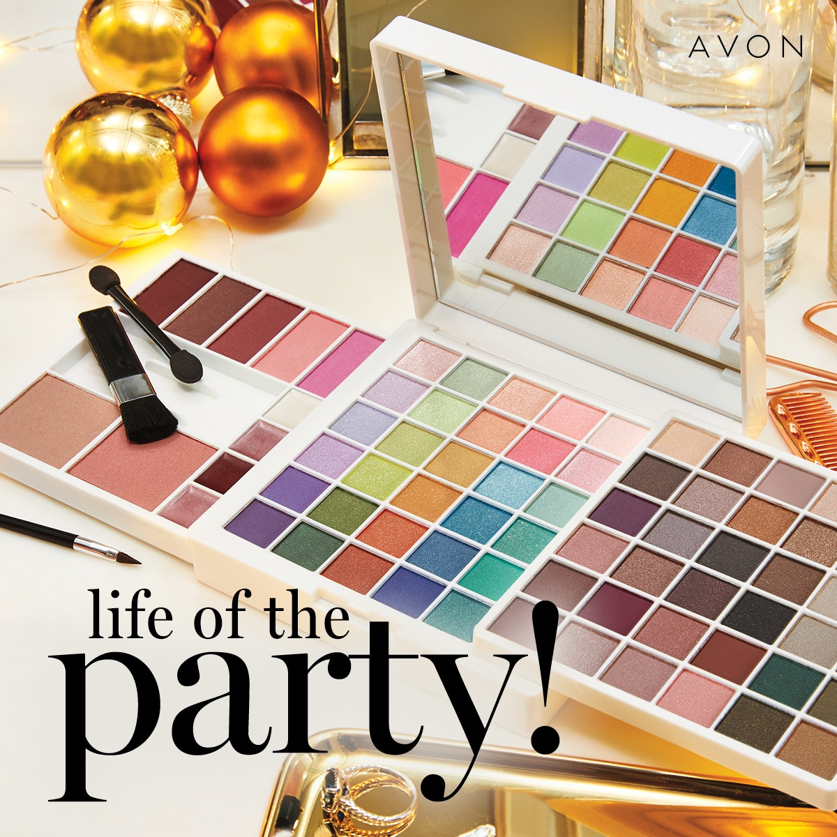 Create endless looks this holiday season and beyond! Over 75 universal shades to create all your holiday looks, from office parties to New Year's Eve!    #beautyboss #avon #avonrepresentative #avonusarep #avonproducts #makeup #eyes #eyeshadow #giftset