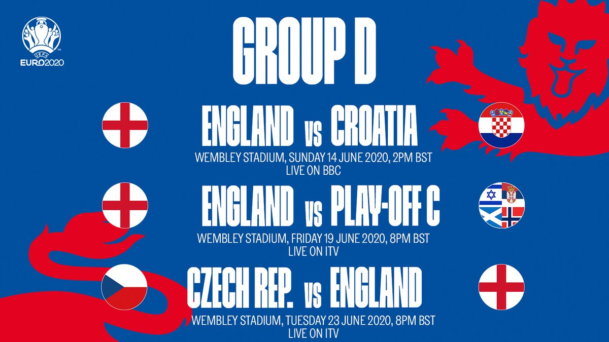 UK TV selections for the #ThreeLions group games at #EURO2020 have been confirmed: 🆚 Croatia 📺 @BBC 🆚 Play-off Path C Winner 📺 @ITV 🆚 Czech Republic 📺 @ITV