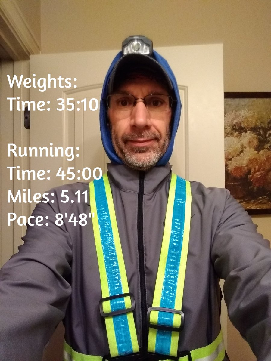 Bundled, lighted, & ready to go! Ran to the gym and got in a weightlifting session. Consistency is the key. Taking it one day at a time. #runner #chasingunicorns #RuntoRemember #marathontraining
