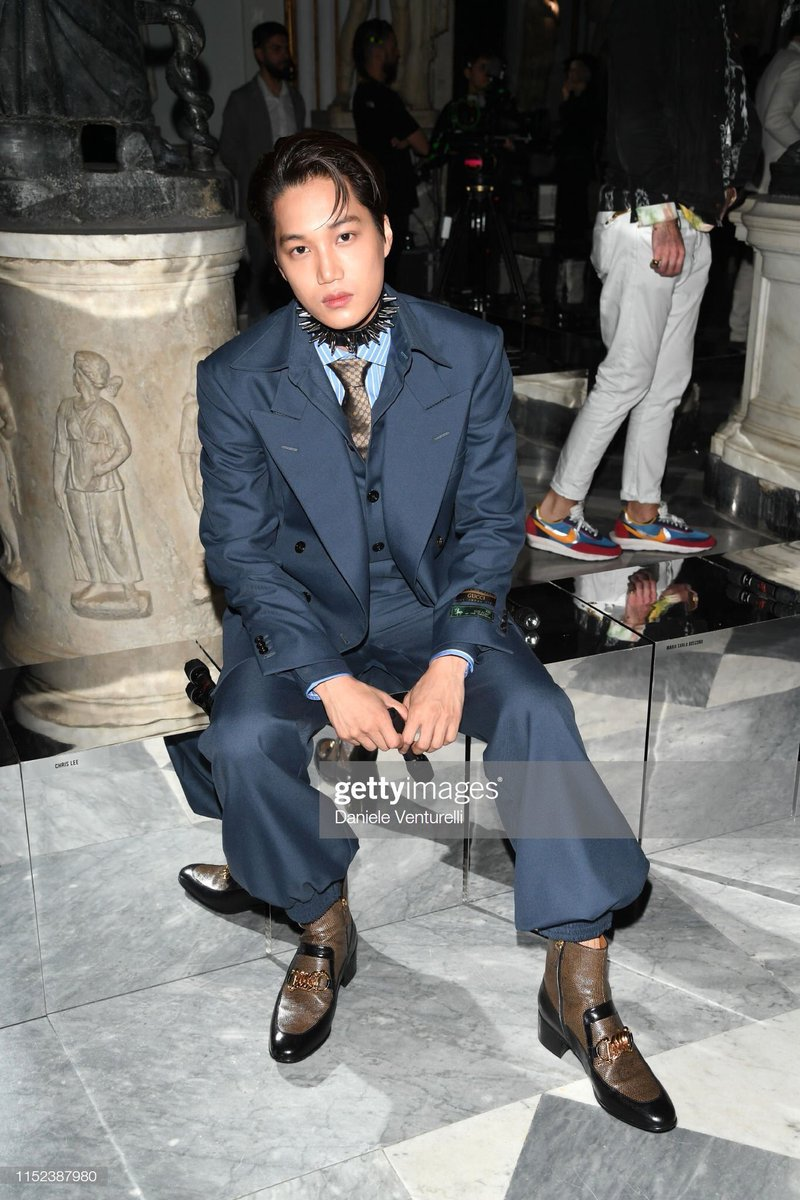 Which Kai Gucci outfill/look is your favorite? Post the picture below and don't forget to use #GQBestDressed_KAI   Mine is the blue suit with chocker for Gucci Cruise in Milan    #WeareoneEXO   #ObsessedWithKai  #OBSESSEDwithEXO  #obsession   #EXO   #EXODEUX   @weareoneEXO<br>http://pic.twitter.com/qxUo2B0Iu1