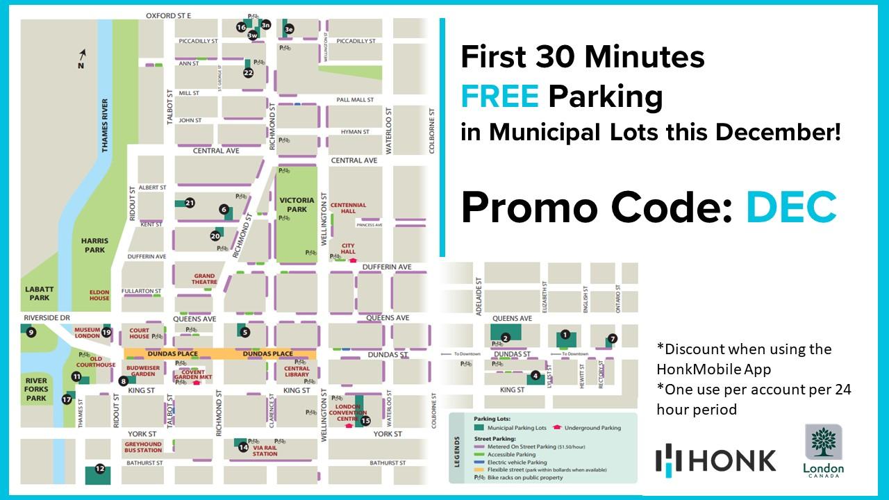 [City of London]City of London - free 30 mins parking @ municipal lots. All December