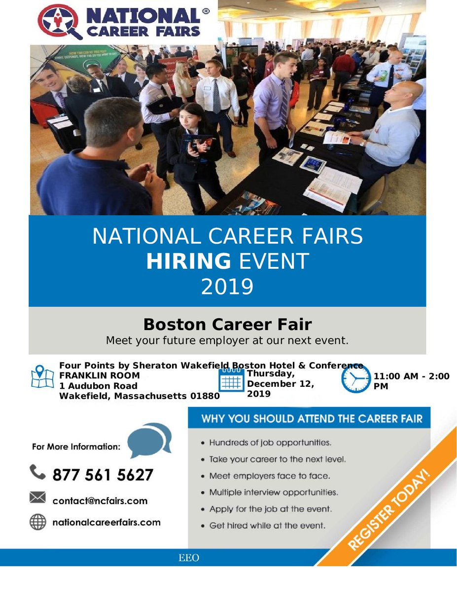 The Boston Career Fair is next Thursday the 12th in Wakefield. Definitely check it out if you're free!  #JobFair #CareerFair #BostonCareerFair #GetHired #CurryCollegepic.twitter.com/5ahl6o5S0Q