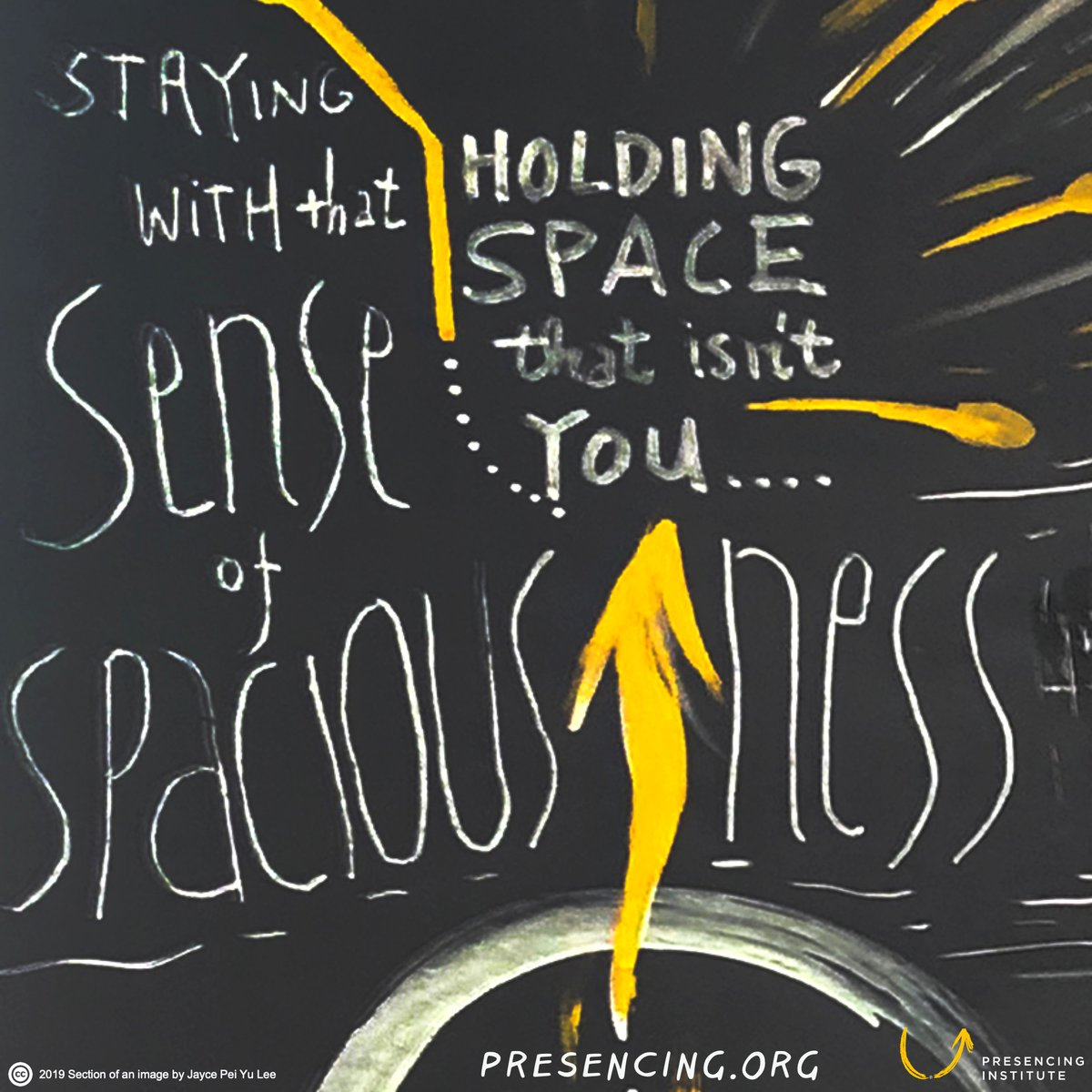Holding space (for what isnt just you) Staying with that sense of spaciousness #payitforward @presencing_inst bit.ly/35YD6j8 Image: @jaycelee