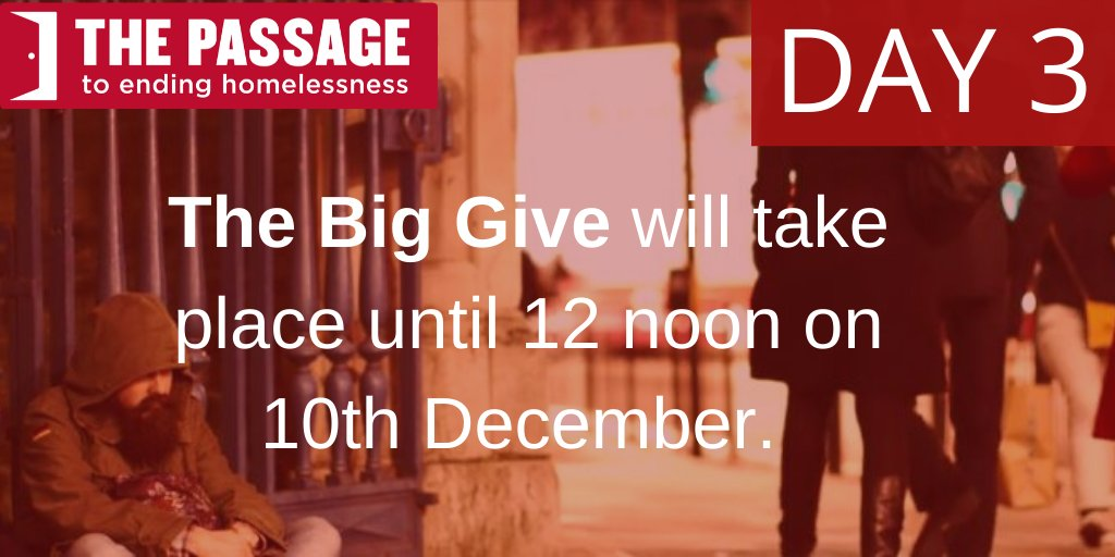 It is Day 3 of @BigGive and so far weve raised a fantastic £132,538! Thanks to all whove donated so far! Help us reach our target of £240,000 so we can help more #homeless people than last year. Any amount will be doubled at no extra cost to yourself. donate.thebiggive.org.uk/campaign/a051r…