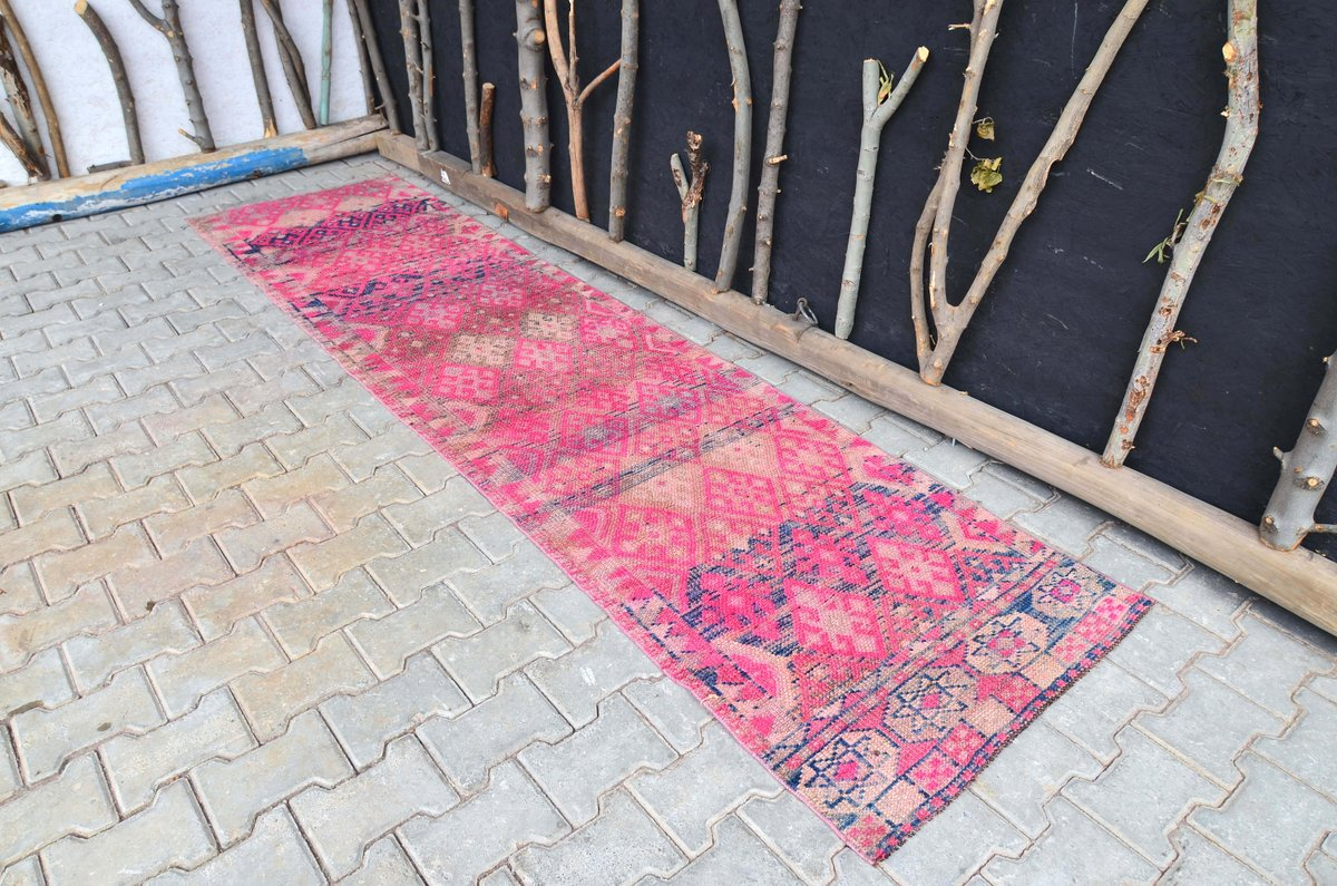 Excited to share the latest addition to my #etsy shop: 2'7x10'6 ft, TURKISH RUNNER RUG, Tribal Rug, Farmhouse Rug, Vintage Rug, Rug Runner, Wool Rug, Etsy Rug, Handmade Rug, Runner, Colorful Rug  #housewares #pink #cotton #runner #bohemianeclecti