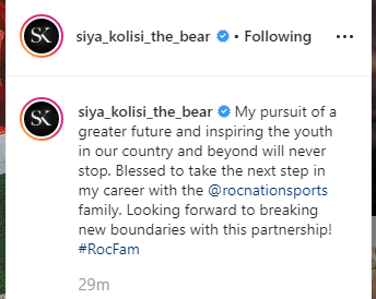 JUST IN: World Cup winning captain, Siya Kolisi, confirms that he has signed for Jay Z's roc nation sports agency. #Rugby