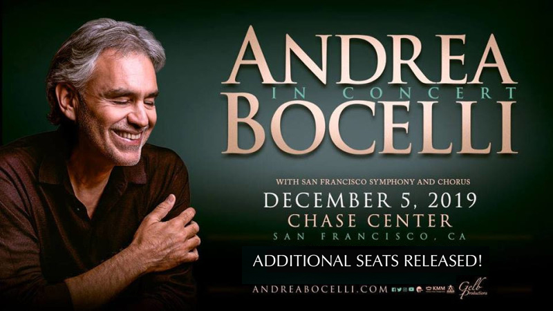 #SANFRANCISCO, ADDITIONAL SEATS RELEASED! A limited number of additional tickets have just been released for Andrea Bocelli's previously sold out debut performance at the Chase Center tonight! Get them now before it's sold out for good here: bit.ly/2HuDQ7e