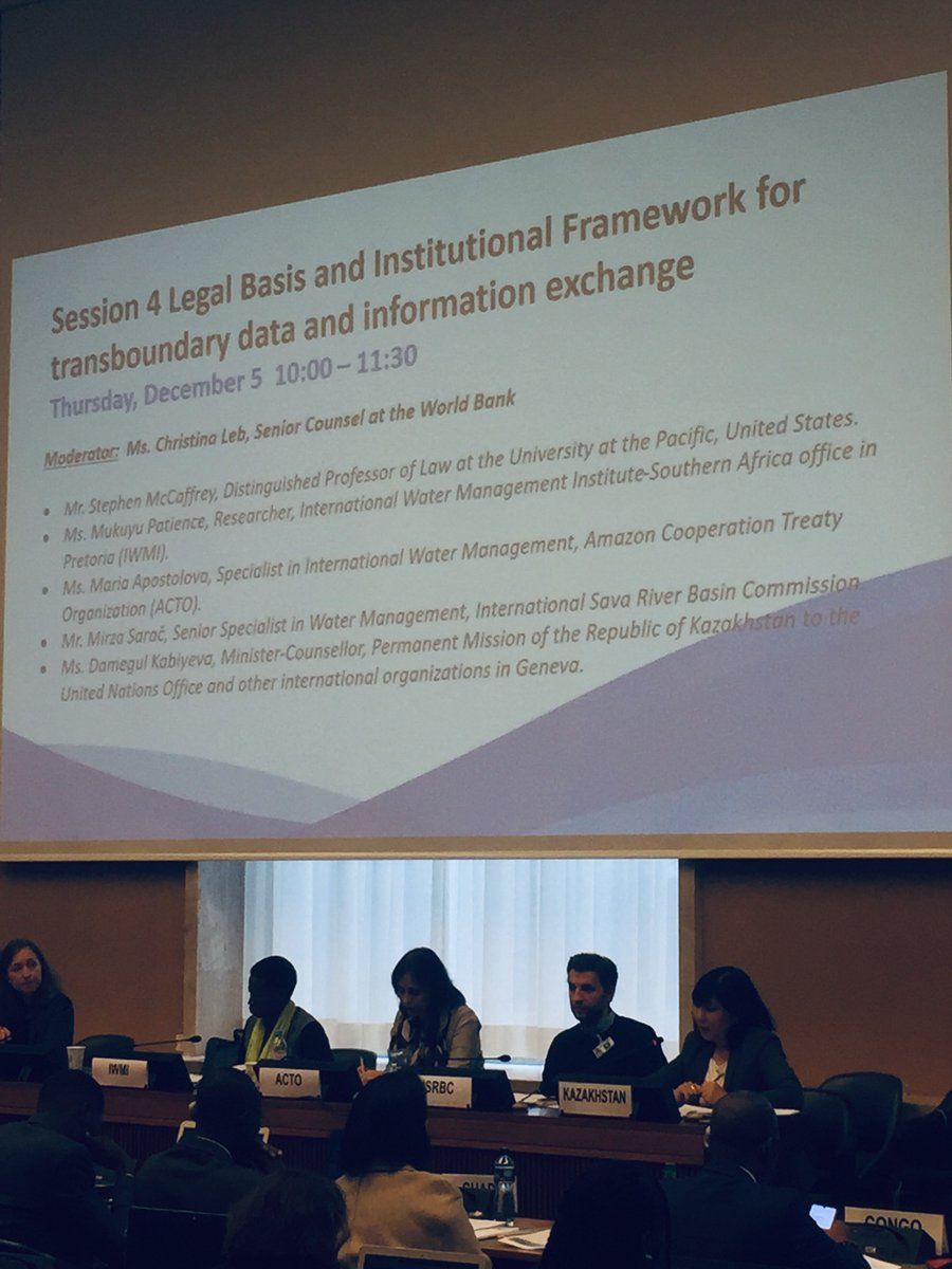 Day 2 of @UNECE_Water Convention Global workshop on Exchange of Data & Information in Transboundary Basins. First session focuses on the Legal Basis & Institutional Framework. Prof S McCaffrey, member of #WaterConvention Implementation Committee, opens the panel of speakers.