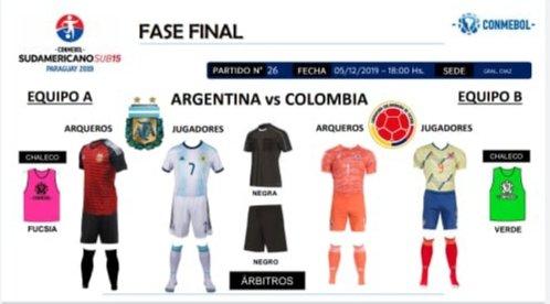 #SudamericanoSub15 Esta es la indumentaria que vestirá @Argentina y su par de #Colombia en el encuentro de hoy.  📺 El partido se podrá ver por la cuenta oficial de la Conmebol en Facebook. https://t.co/MUG8EMO8Z4