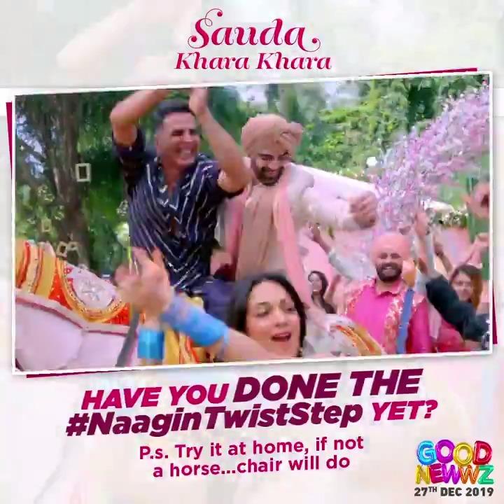 A challenge strictly for interesting people only!😎 Attempt the #NaaginTwistStep & upload your videos! The best one gets reposted by @akshaykumar, the OG dancer himself!  #SaudaKharaKhara -   #KareenaKapoorKhan @diljitdosanjh @Advani_Kiara #GoodNewwz