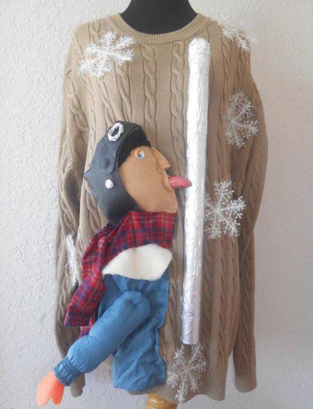 柱をなめたら舌がくっついてしまったセーター