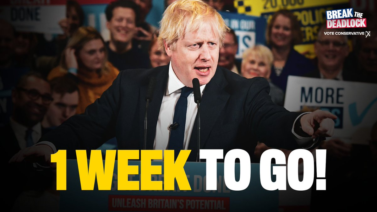 We've got one week to get Brexit done and unleash Britain's potential.