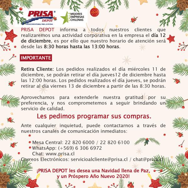 Comunicado de PRISA DEPOT: Feliz Navidad y Próspero Año Nuevo #2020 #SomosPrisa #Prisa http://www.prisa.cl