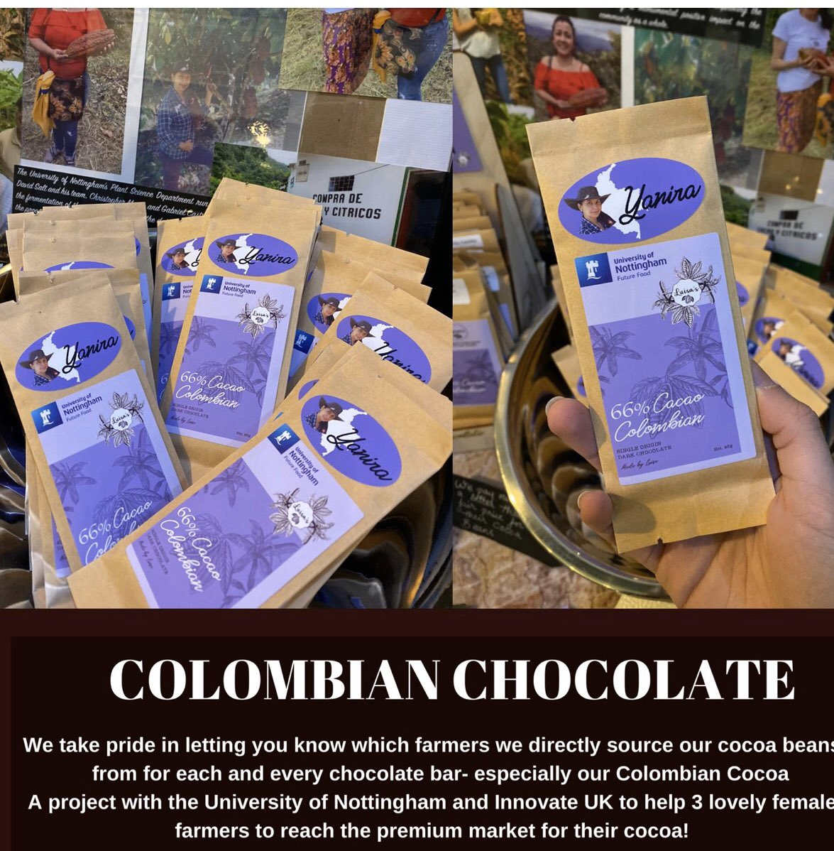 Delighted to be presenting our Colombian project with @UoNFutureFood at the Foreign office London today helping female farmers reach a super premium price for cacao. Please support this ethical project purchase bars luisasveganchocolates.co.uk #visitnottingham #SmallBusinessSaturday