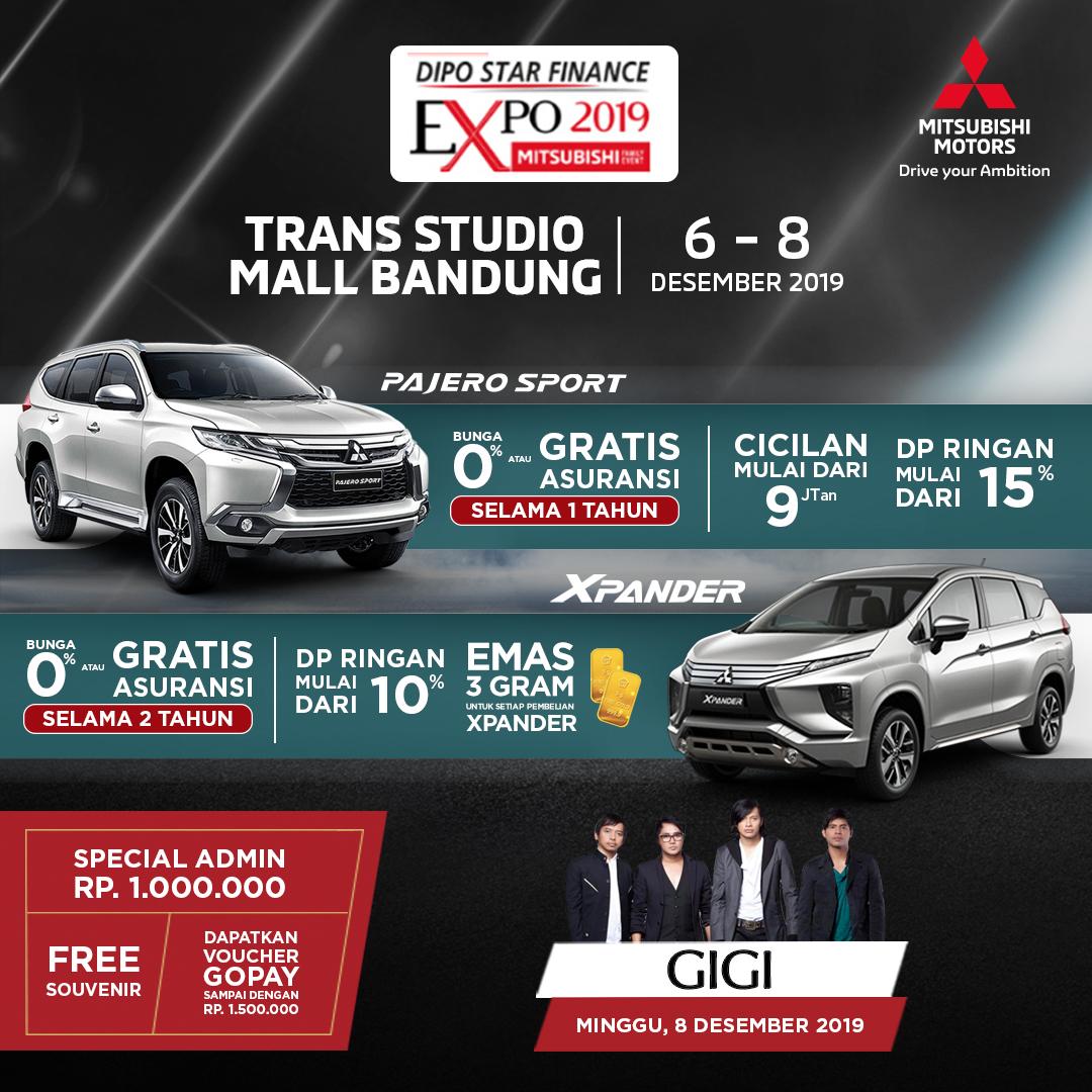 Buat Mitsubishi Family yang ada di Bandung, mau nonton Gigi sekaligus dapatkan promo menarik dari Mitsubishi Motors? Langsung aja kunjungi Dipo Star Finance Expo 2019 di Trans Studio Mall Bandung tanggal 6-8 Desember 2019. Banyak hadiah menariknya lho!  #MitsubishiMotors
