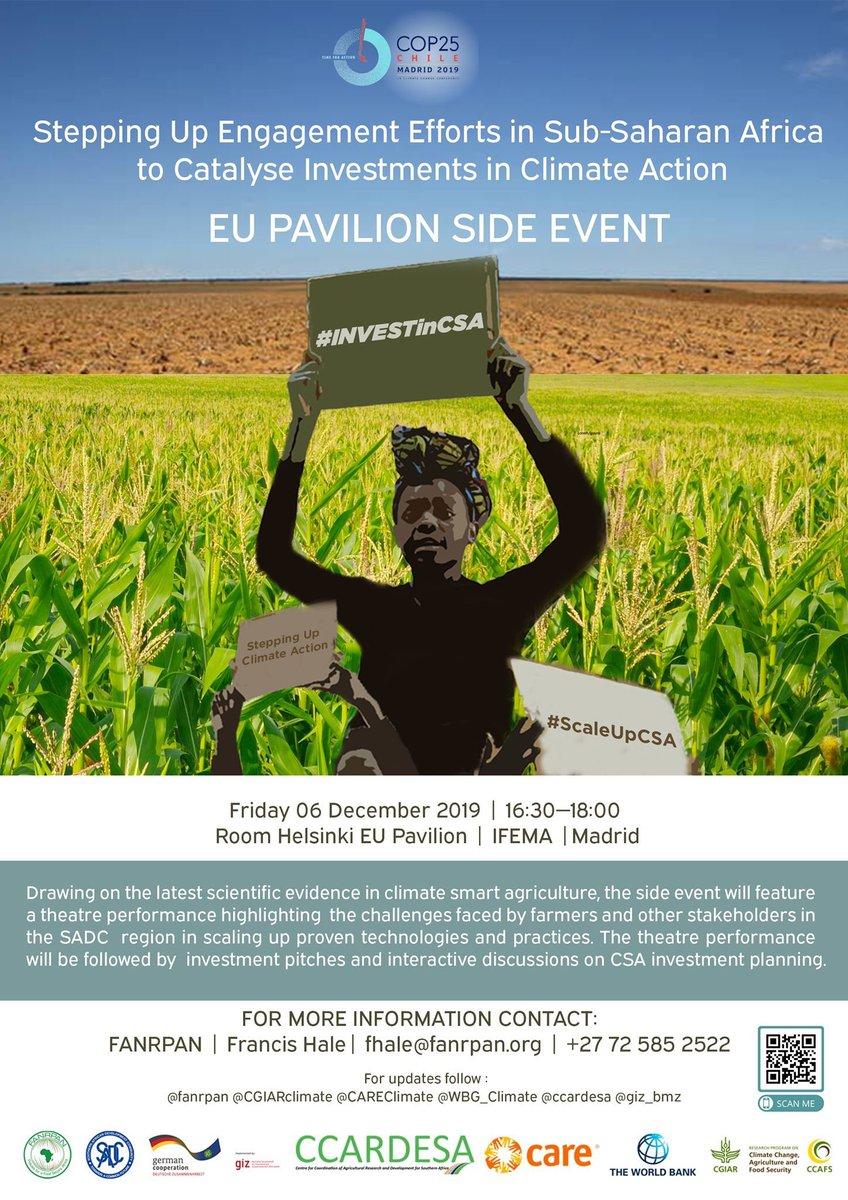 For those at #COP25, don't miss #AFRICAP partner @FANRPAN's side event tomorrow at 16:30! The event will showcase their innovative approach to communicating about #climatesmartagriculture & discussing the challenges involved in scaling it.