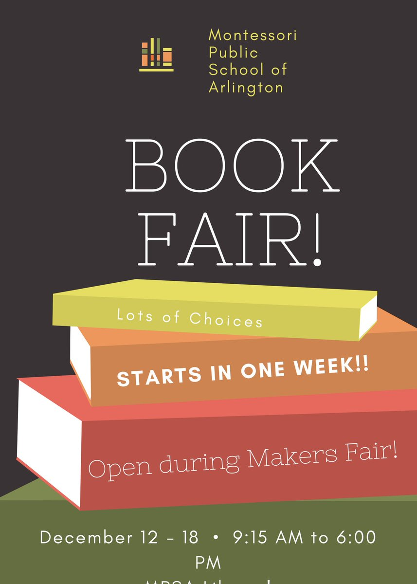 Our First Book Fair starts in ONE Week!! Pre-purchase gift cards now <a target='_blank' href='https://t.co/vu7gStlnbX'>https://t.co/vu7gStlnbX</a>  <a target='_blank' href='http://twitter.com/MPSArlington'>@MPSArlington</a> <a target='_blank' href='http://twitter.com/ArlCoMontessori'>@ArlCoMontessori</a> <a target='_blank' href='https://t.co/FEOe8lb4A9'>https://t.co/FEOe8lb4A9</a>