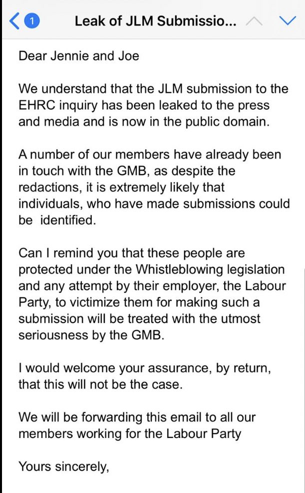 """NEW: Representatives of the GMB union have written to Jennie Formby and Labour HR warning that any attempt to """"victimise"""" the whistleblowers in the Jewish Labour Movement subsmission to the EHRC will be """"treated with the utmost seriousness by the GMB""""."""